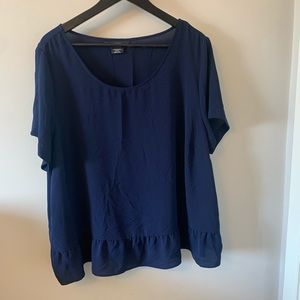 Navy / Short Sleeve / Blouse / Ruffle Hem